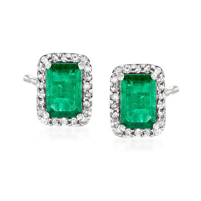 1.20 ct. t.w. Emerald and .10 ct. t.w. Diamond Stud Earrings in 14kt White Gold, , default