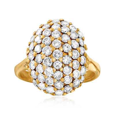 C. 1980 Vintage 4.60 ct. t.w. Diamond Top Cluster Ring in 14kt Yellow Gold, , default