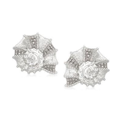 .15 ct. t.w. Diamond Seashell Earrings in Sterling Silver, , default