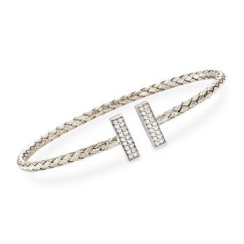 "Charles Garnier ""Bella"" .30 ct. t.w. CZ Cuff Bracelet in Sterling Silver. 7"", , default"