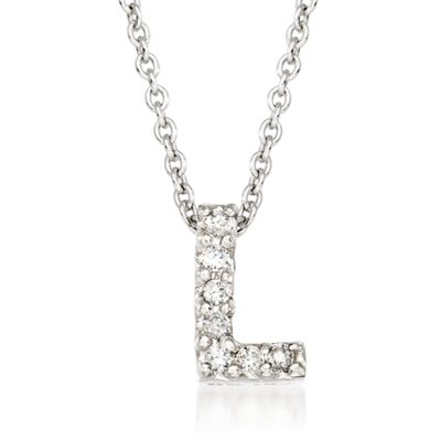 "Roberto Coin ""Tiny Treasures"" Diamond Accent Initial ""L"" Necklace in 18kt White Gold, , default"