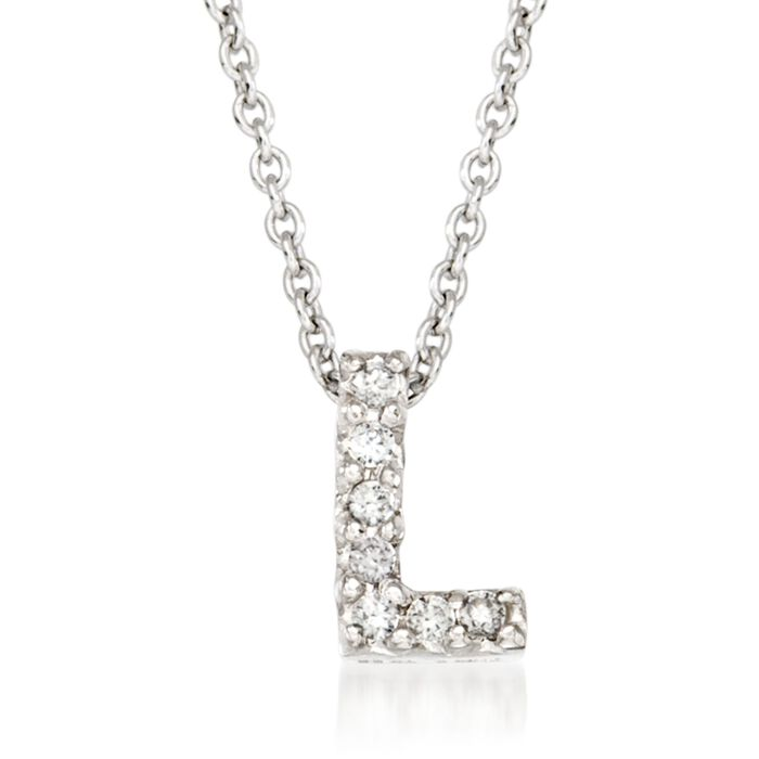 "Roberto Coin ""Tiny Treasures"" Diamond Accent Initial ""L"" Necklace in 18kt White Gold. 16"", , default"