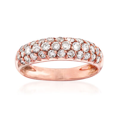 C. 1980 Vintage Van Cleef & Arpels .75 ct. t.w. Diamond Three-Row Ring in 18kt Rose Gold, , default