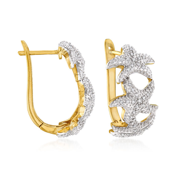 """.20 ct. t.w. Diamond Starfish Hoop Earrings in Sterling Silver and 18kt Gold Over Sterling. 3/4"""""""
