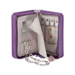 Plum Faux Leather Travel-Ready Jewelry Travel Case, , default