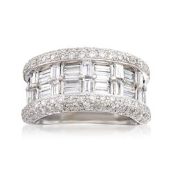 C. 1990 Vintage 2.85 ct. t.w. Diamond Wide-Band Ring in 18kt White Gold. Size 6.5, , default