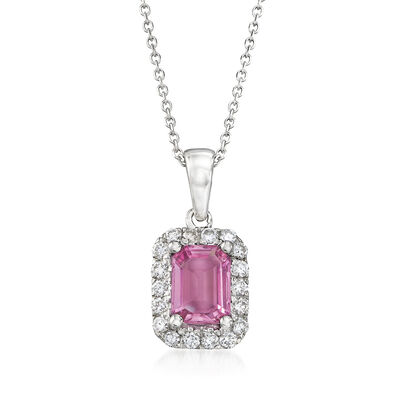 1.10 Carat Sapphire and .25 ct. t.w. Diamond Pendant Necklace in 14kt White Gold, , default