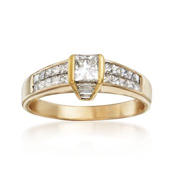 C. 1990 Vintage 1.50 ct. t.w. Princess-Cut and Baguette Diamond Engagement Ring in 18kt Yellow Gold. Size 9.75, , default