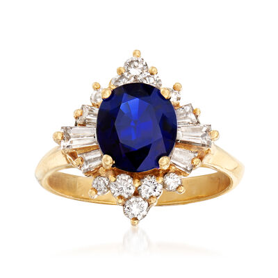 C. 1990 Vintage 2.00 Carat Sapphire and .75 ct. t.w. Diamond Ring in 18kt Yellow Gold, , default