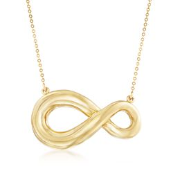 "Italian 18kt Yellow Gold Asymmetrical Infinity Symbol Necklace. 20"", , default"