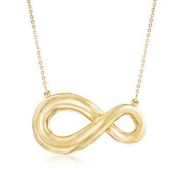 "Italian 18kt Yellow Gold Asymmetrical Infinity Symbol Necklace. 20"", , default"