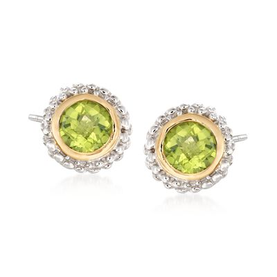 Phillip Gavriel .90 ct. t.w. Peridot Stud Earrings in Sterling Silver and 18kt Gold, , default