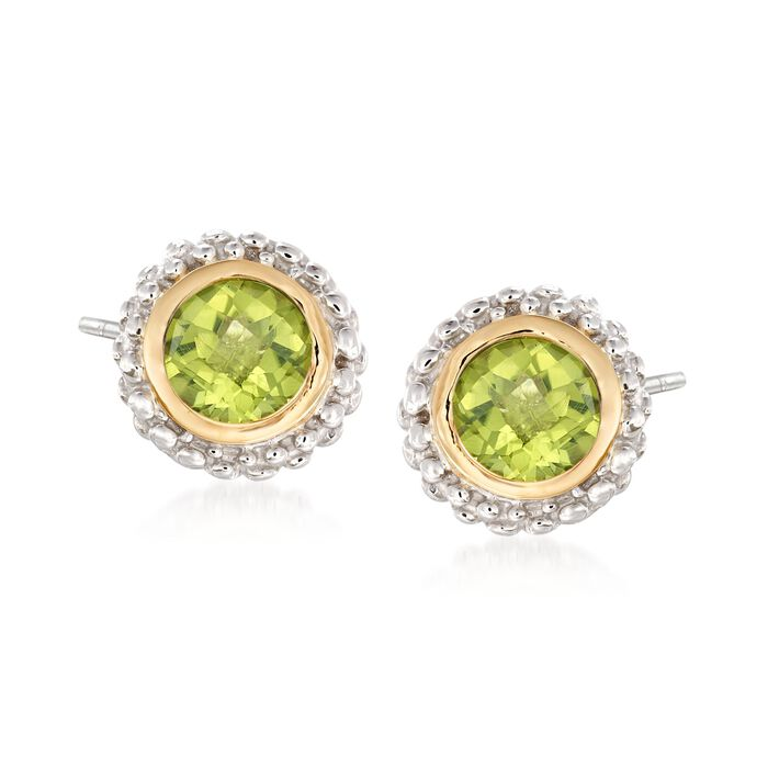 Phillip Gavriel .90 ct. t.w. Peridot Stud Earrings in Sterling Silver and 18kt Gold , , default