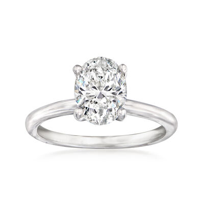 1.70 Carat Certified Diamond Solitaire Ring in 14kt White Gold