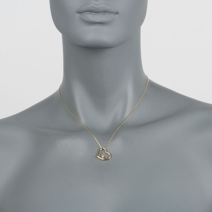 """Roberto Coin 18kt Yellow Gold Heart Medium Necklace with Diamond Accent. 16"""", , default"""