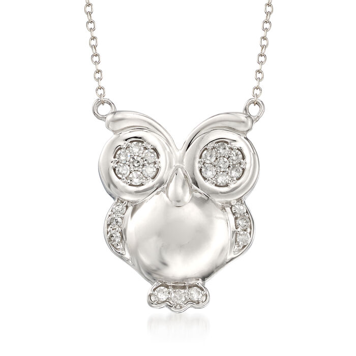 .25 ct. t.w. Diamond Owl Pendant Necklace in Sterling Silver