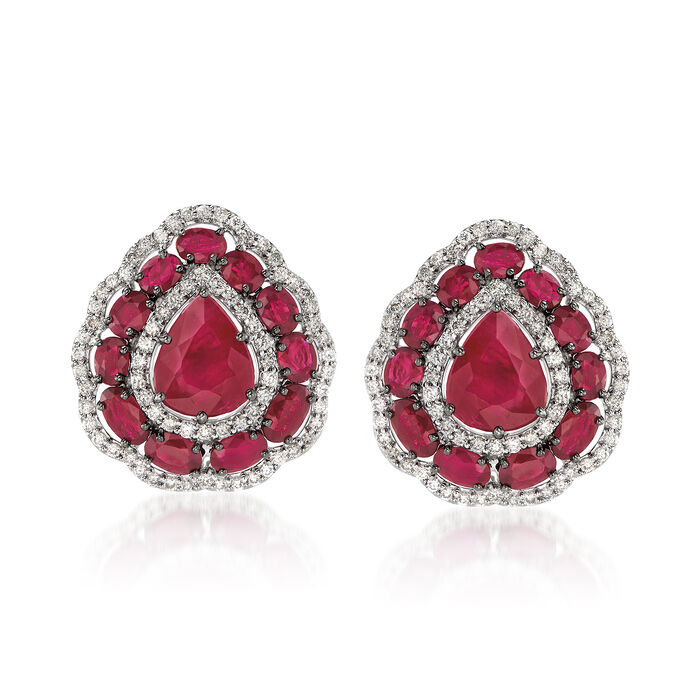 11.25 ct. t.w. Ruby and 1.15 ct. t.w. Diamond Scallop-Edged Earrings in 14kt White Gold, , default