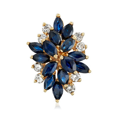 C. 1970 Vintage 3.50 ct. t.w. Sapphire and .15 ct. t.w. Diamond Cluster Ring in 14kt Yellow Gold, , default