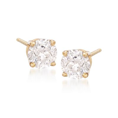 6.00 ct. t.w. CZ Stud Earrings in 14kt Yellow Gold, , default