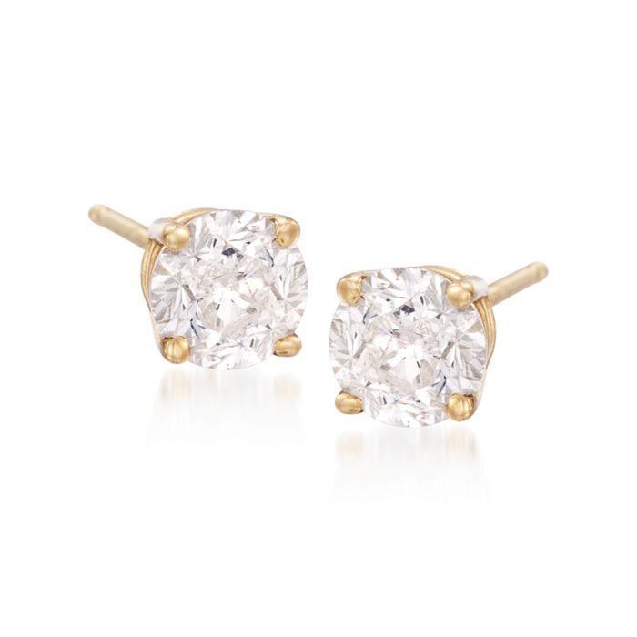 6.00 ct. t.w. CZ Stud Earrings in 14kt Yellow Gold, , default