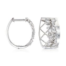 ".36 ct. t.w. Baguette Diamond Hoop Earrings in 14kt White Gold. 1/2"", , default"