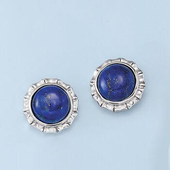 Lapis Stud Earrings in Sterling Silver