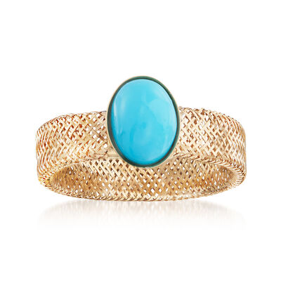 Italian Reconstituted Turquoise and 14kt Yellow Gold Mesh Stretch Ring, , default
