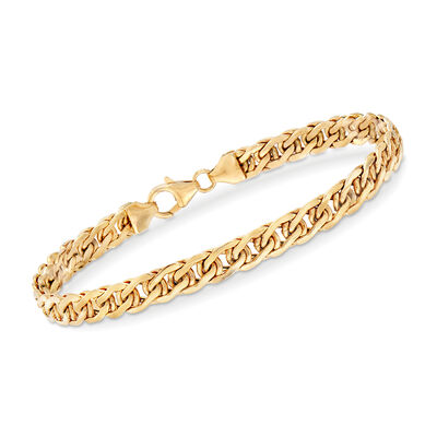 Italian 18kt Yellow Gold Double Curb-Link Bracelet, , default