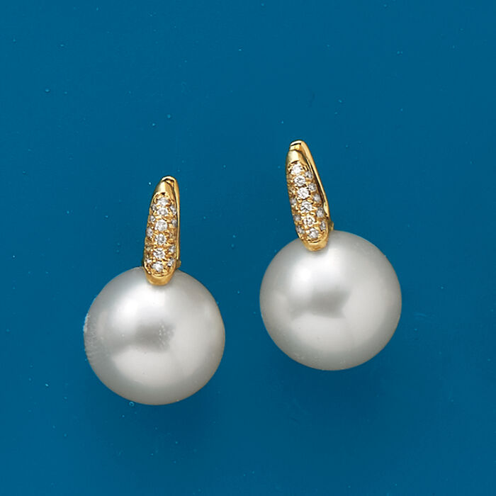 12-13mm Cultured South Sea Pearl and .16 ct. t.w. Diamond Earrings in 18kt Yellow Gold