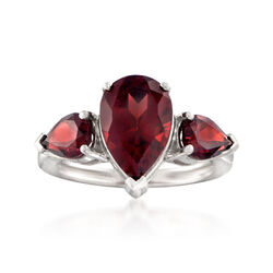 5.50 ct. t.w. Garnet Three-Stone Ring in Sterling Silver, , default