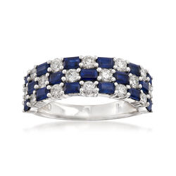 Gregg Ruth 1.75 ct. t.w. Baguette Sapphires and .86 ct. t.w. Diamond Checkerboard Ring in 18kt White Gold, , default