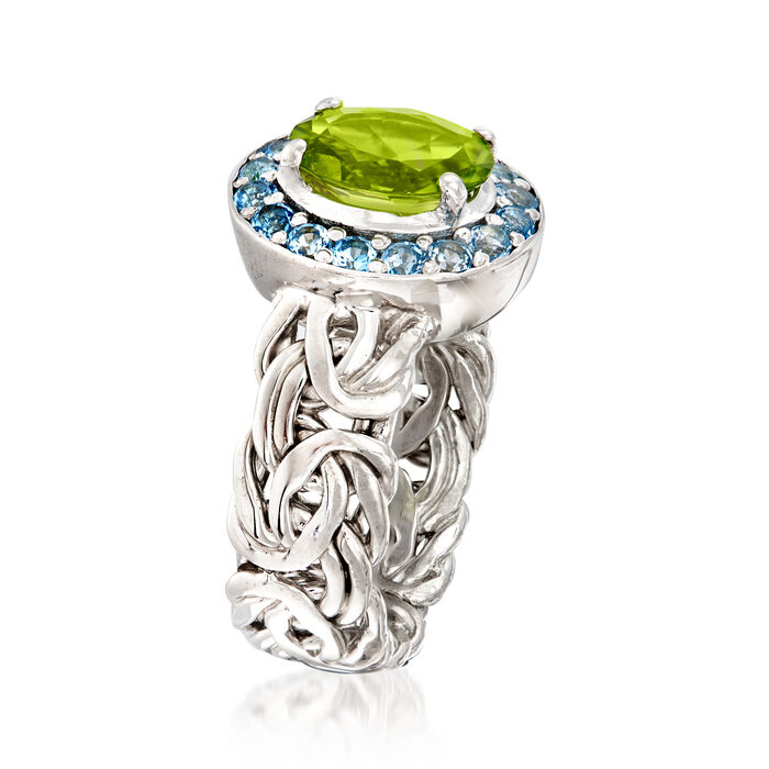 1.70 Carat Peridot and .60 ct. t.w. Sky Blue Topaz Byzantine Ring in Sterling Silver
