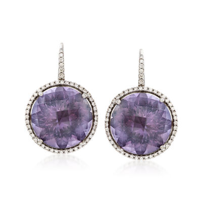 C. 1980 Vintage 26.00 ct. t.w. Amethyst and .80 ct. t.w. Diamond Round Drop Earrings in 18kt White Gold, , default