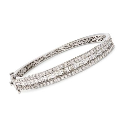 5.00 ct. t.w. Baguette and Round Diamond Bangle Bracelet in 14kt White Gold, , default