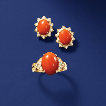 Coral and .19 ct. t.w. Diamond Ring in 18kt Yellow Gold, , default