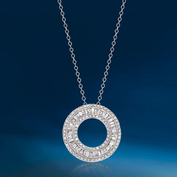 1.00 ct. t.w. Diamond Open Eternity Circle Pendant Necklace in 14kt White Gold