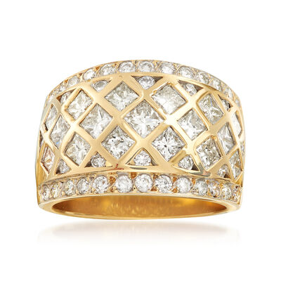 C. 1990 Vintage 3.00 ct. t.w. Round and Square Princess Diamond Honeycomb Ring in 14kt Yellow Gold, , default