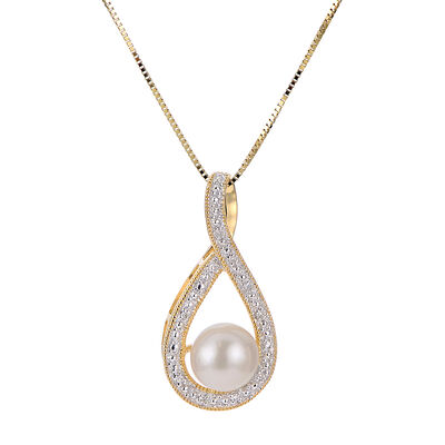 7-7.5mm Cultured Pearl Loop Pendant Necklace in 14kt Yellow Gold