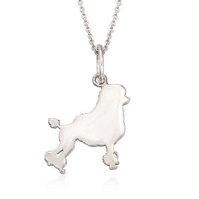 Italian Sterling Silver Poodle Dog Silhouette Pendant Necklace, , default