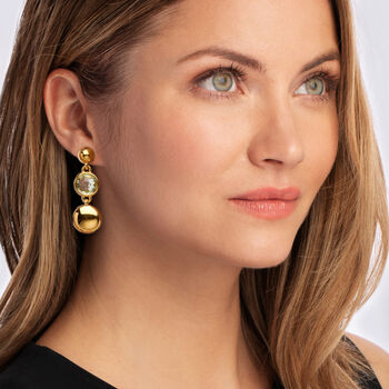 Italian Andiamo 14kt Yellow Gold and 11.00 ct. t.w. Prasiolite Drop Earrings
