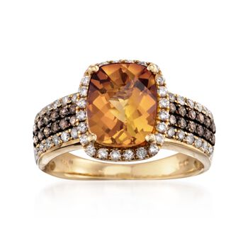 2.50 Carat Madeira Citrine and .88 ct. t.w. Diamond Ring in 14kt Yellow Gold, , default