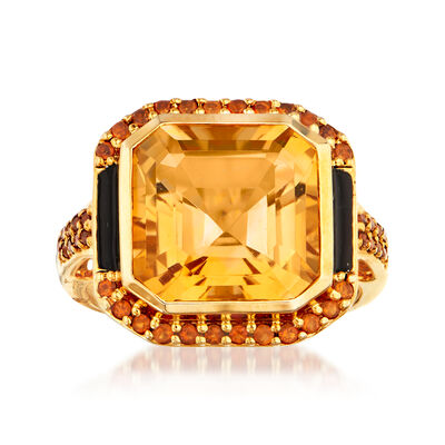 7.71 ct. t.w. Citrine and Black Enamel Ring in 18kt Gold Over Sterling