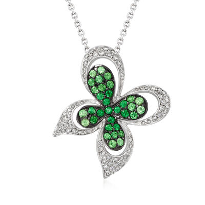 "C. 1990 Vintage Ambrosi ""Papillion"" .95 ct. t.w. Tsavorite and .63 ct. t.w. Diamond Pendant Necklace in 18kt White Gold"