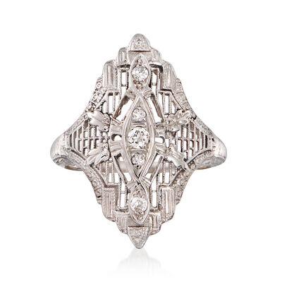 C. 1990 Vintage .15 ct. t.w. Diamond Filigree Cocktail Ring in 18kt White Gold, , default
