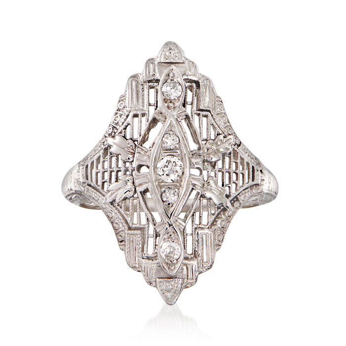 C. 1990 Vintage .15 ct. t.w. Diamond Filigree Cocktail Ring in 18kt White Gold. Size 6, , default