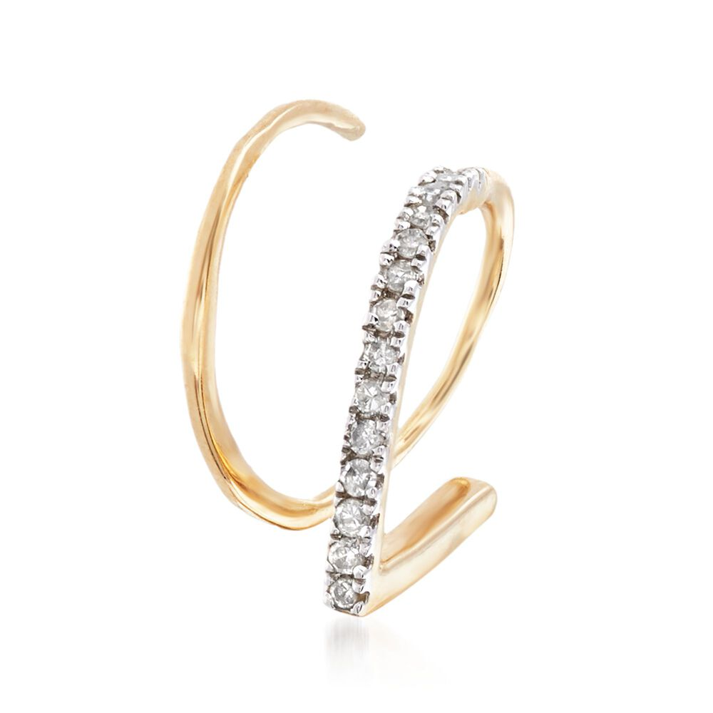 Diamond Accented Single Cuff Earrings In 14kt Yellow Gold Default