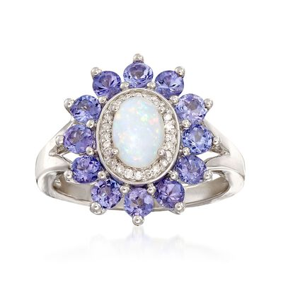 Opal and 12.00 ct. t.w. Tanzanite Ring with Diamond Accents in 14kt White Gold