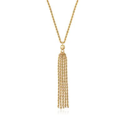 Italian 14kt Yellow Gold Tassel Necklace, , default
