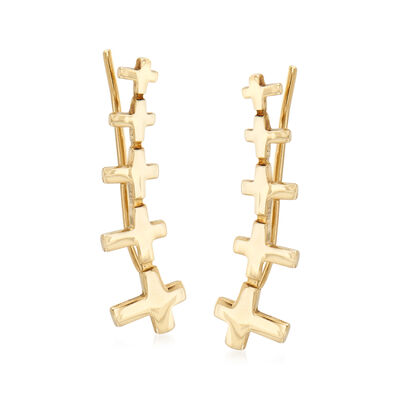 14kt Yellow Gold Graduated Cross Ear Climbers, , default