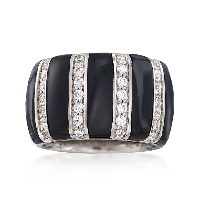 """Belle Etoile """"Regal"""" Black Onyx and .70 ct. t.w. CZ Ring in Sterling Silver"""